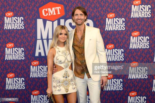 Maren Morris and Ryan Hurd attend the 2019 CMT Music Awards at Bridgestone Arena on June 05 2019 in Nashville Tennessee