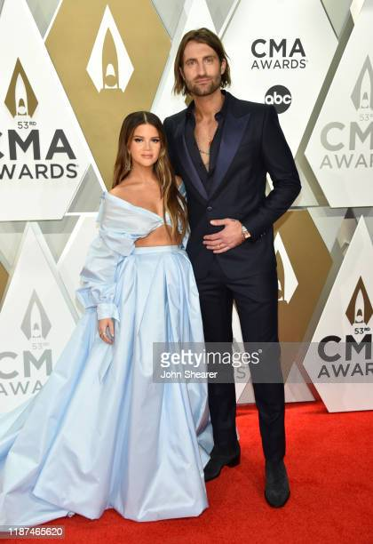 Maren Morris and Ryan Hurd attend the 53rd annual CMA Awards at the Music City Center on November 13 2019 in Nashville Tennessee