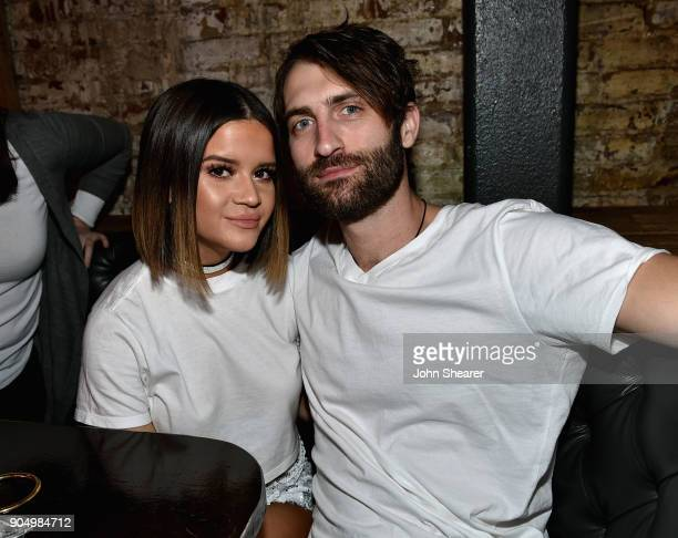 Maren Morris and Ryan Hurd attend the Nashville Opening of Dierks Bentley's Whiskey Row on January 14 2018 in Nashville Tennesse