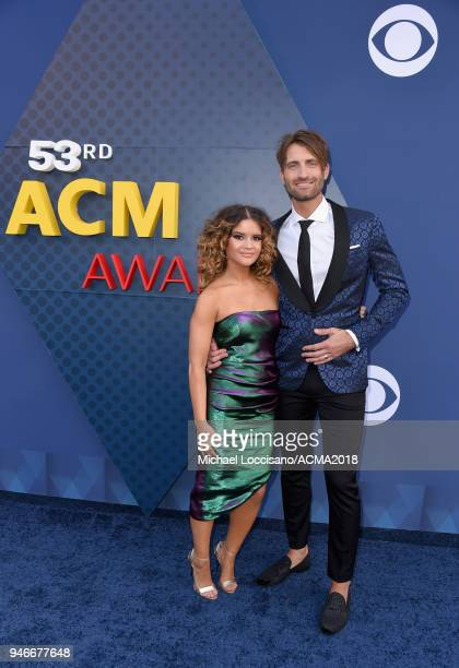 Maren Morris and Ryan Hurd attends the 53rd Academy of Country Music Awards at MGM Grand Garden Arena on April 15 2018 in Las Vegas Nevada