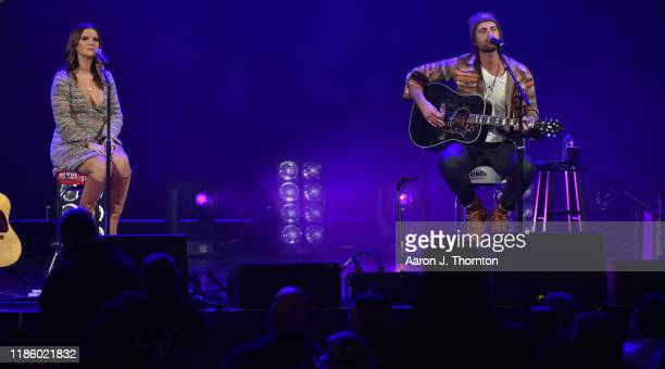 "Maren Morris and Ryan Hurd perform on stage during ""Stars and Strings Presented by RAM Trucks Built to Serve,"" a RADIO.COM Event, at the Fox Theatre..."