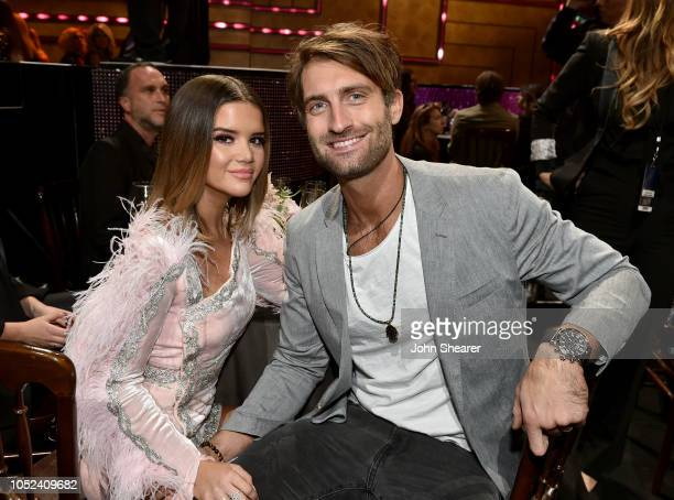 Maren Morris and Ryan Hurd pose during the 2018 CMT Artists of The Year at Schermerhorn Symphony Center on October 17 2018 in Nashville Tennessee
