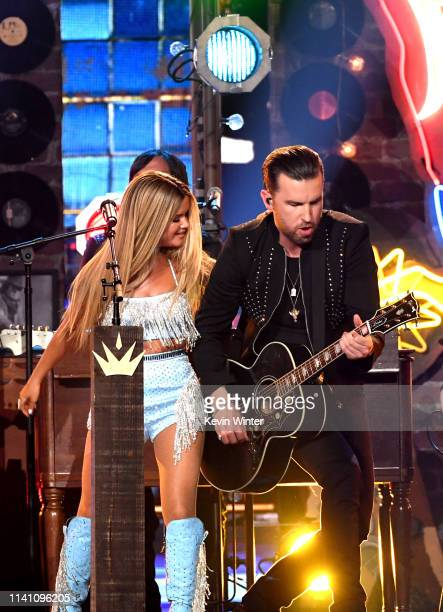 Maren Morris and TJ Osborne of Brothers Osborne perform onstage during the 54th Academy Of Country Music Awards at MGM Grand Garden Arena on April 07...
