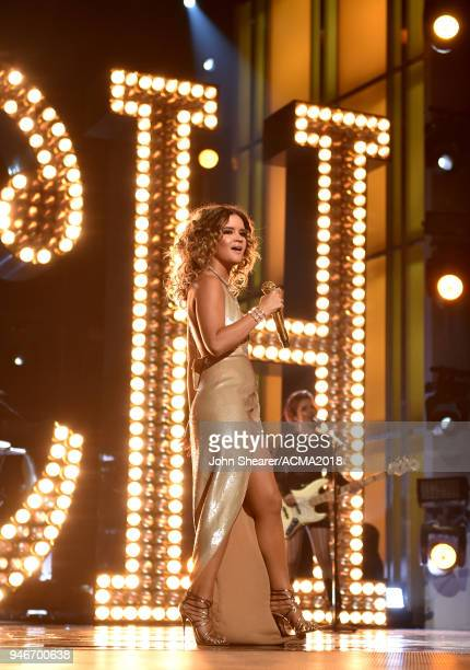 Maren Morris performs on stage at the 53rd Academy of Country Music Awards at MGM Grand Garden Arena on April 15 2018 in Las Vegas Nevada