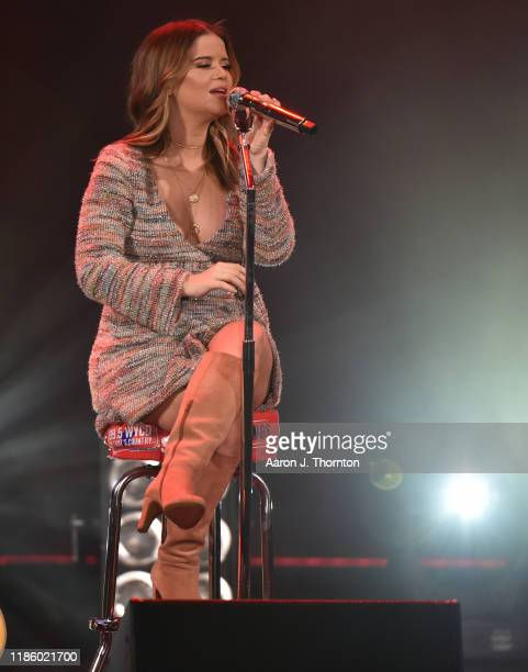 "Maren Morris performs on stage during ""Stars and Strings Presented by RAM Trucks Built to Serve"" a RADIOCOM Event at the Fox Theatre on November 06..."