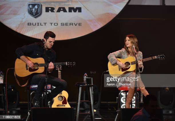 "Maren Morris performs on stage during ""Stars and Strings Presented by RAM Trucks Built to Serve,"" a RADIO.COM Event, at the Fox Theatre on November..."