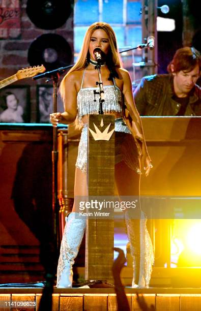 Maren Morris performs onstage during the 54th Academy Of Country Music Awards at MGM Grand Garden Arena on April 07 2019 in Las Vegas Nevada