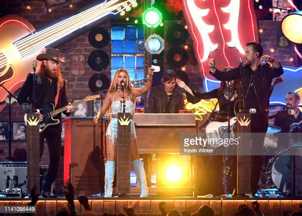 Maren Morris performs with John Osborne and TJ Osborne of Brothers Osborne onstage during the 54th Academy Of Country Music Awards at MGM Grand...