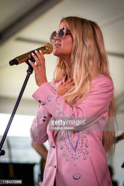 Maren Morris performs with The Highwomen during the 60th annual Newport Folk Festival 2019 at Fort Adams State Park on July 26 2019 in Newport Rhode...