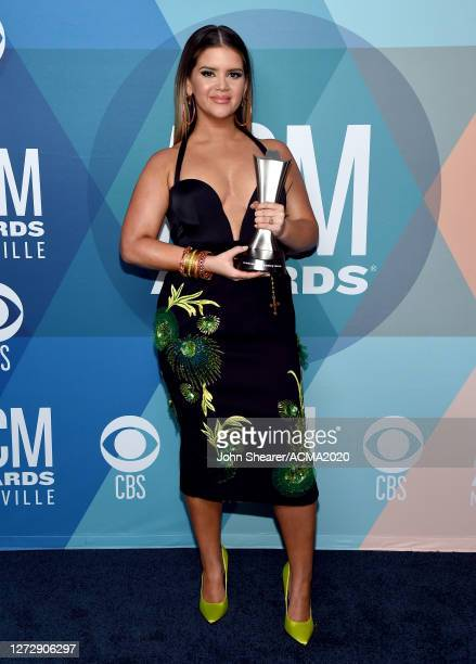 Maren Morris poses with the Female Artist of the Year award at the 55th Academy of Country Music Awards at the Grand Ole Opry on September 16, 2020...