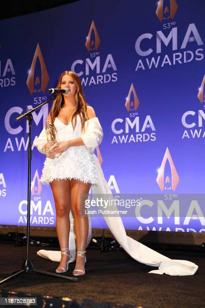 Maren Morris speaks in the press room of the 53rd annual CMA Awards at the Bridgestone Arena on November 13, 2019 in Nashville, Tennessee.