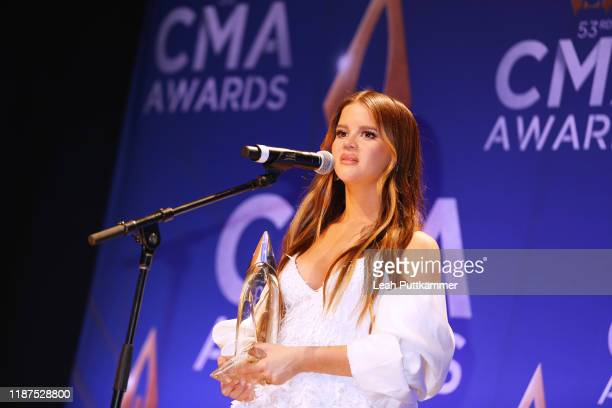 Maren Morris speaks in the press room of the 53rd annual CMA Awards at the Bridgestone Arena on November 13 2019 in Nashville Tennessee