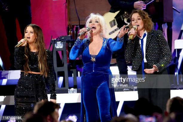 Maren Morris Tanya Tucker and Brandi Carlile perform onstage during the 53rd annual CMA Awards at the Bridgestone Arena on November 13 2019 in...