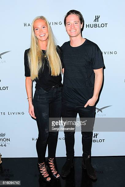 Maren Platou and DJ Kygo attend the Avion Reserva 44 Celebrates Kygo's Haute Living Cover at Komodo on March 16 2016 in Miami Florida