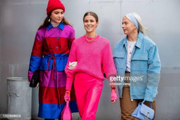 Maren Shia Nina Sandbech and a guest seen outside Holzweiler during Copenhagen Fashion Week Autumn/Winter 2020 Day 2 on January 29 2020 in Copenhagen...