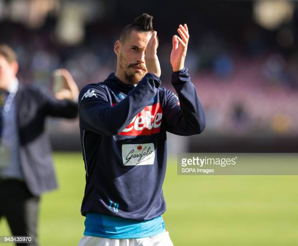 PAOLO NAPOLI CAMPANIA ITALY Marerk Hamsik of SSC Napoli greet the fans after the match between SSC Napoli and AC Chievo Verona at San Paolo Stadium