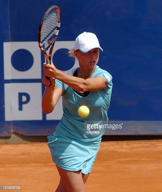 Maret Ani during her match against Flavia Pennetta in the second round of the Estoril Open at Estadio Nacional in Estoril Portugal on May 3 2006