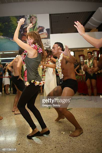 Mareva Galanter dances during the Tahiti Graffiti Festival on June 23 2014 in Papeete French Polynesia Seven former Miss France have arrived this...