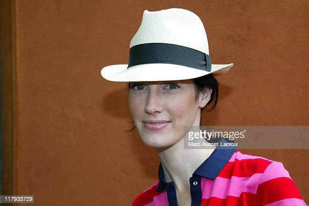 Mareva Galanter poses in the 'Village' the VIP area of the 2007 French Open at Roland Garros arena in Paris France on June 5 2007