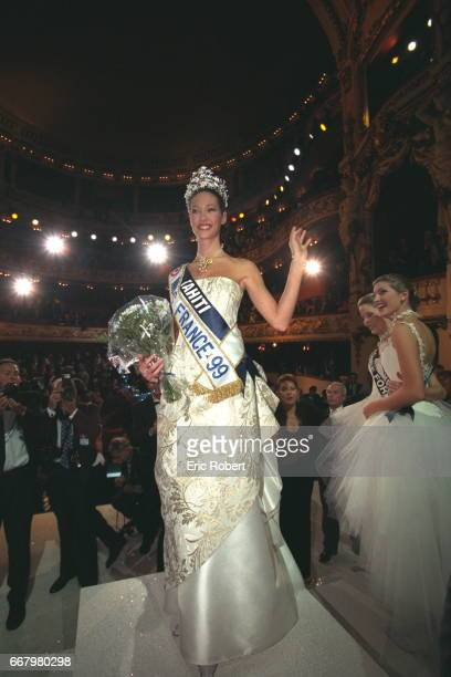 Mareva Galantier Miss Tahiti now Miss France 1999 during the show at l'Opera de Nancy
