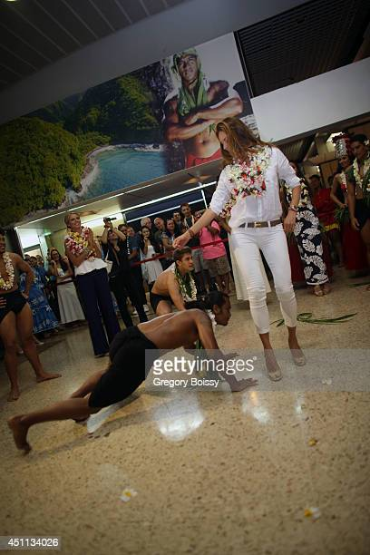 Mareva Georges dances during the Tahiti Graffiti Festival on June 23 2014 in Papeete French Polynesia Seven former Miss France have arrived this...
