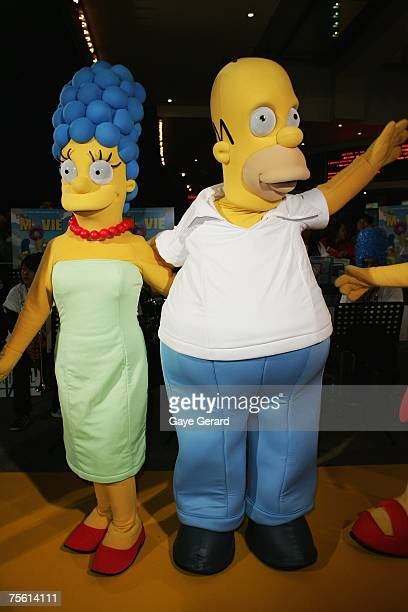 Marg and Homer Simpson pose on the yellow carpet at The Simpsons Movie Australian premiere at Hoyts Entertainment Quarter Moore Park on July 24 2007...