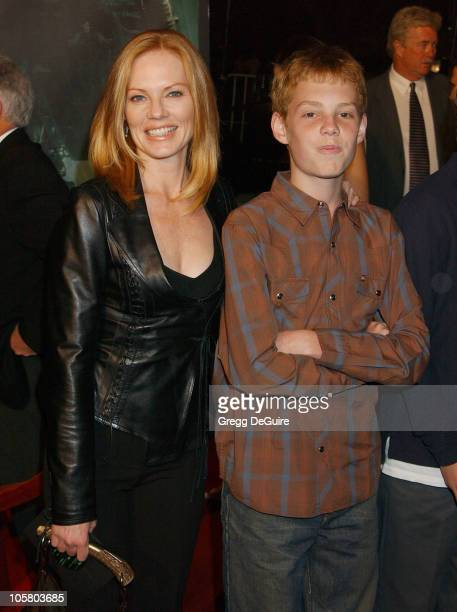 Marg Helgenberger and son Huey during 'The Matrix Revolutions' Premiere at Disney Concert Hall in Los Angeles California United States