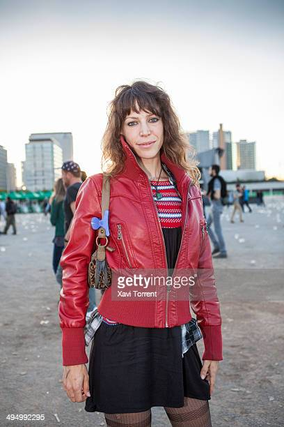 Marga is wearing a jacket from Havende a shirt from PullBear a dress from TRF and tights from Intimissimi on the Primavera Sound 2014 on May 31 2014...