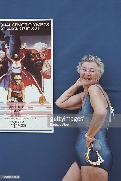 Margaret Alper a contestant in the swimming event at the 1st National Senior Olympics in St Louis Missouri July 1987