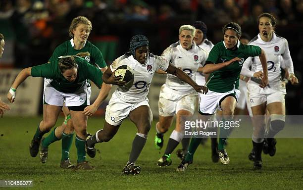 Margaret Alphonsi of England charges upfield during the Womens Six Nations match between Ireland and England at Ashbourne Rugby Club on March 18 2011...