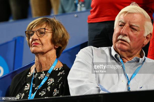 Margaret and Barry Court look on during the finals presentations on day eight during the 2018 Hopman Cup at Perth Arena on January 6 2018 in Perth...