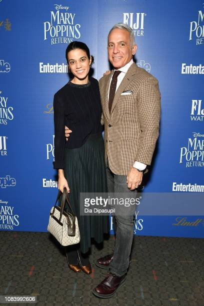 Margaret Anne Williams and Geoffrey Zakarian attend a screening of Mary Poppins Returns hosted by The Cinema Society at SVA Theater on December 17...