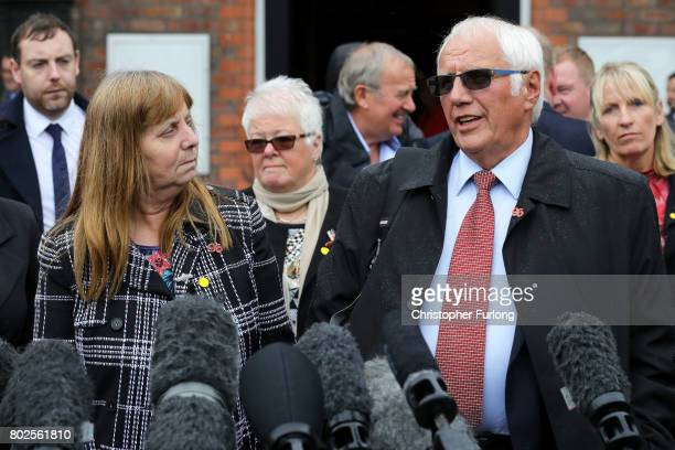 Margaret Aspinall of the Hillsborough Family Support Group and Trevor Hicks address the media after the families of the 96 Hillsborough victims were...