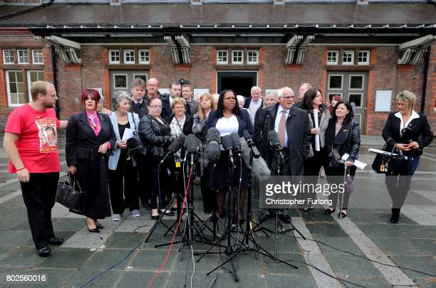 Margaret Aspinall of the Hillsborough Family Support Group Lawyer Marcia Willis Stewart and Trevor Hicks address the media after the families of the...