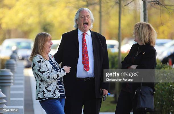 Margaret Aspinall of the Hillsborough Family Support Group Michael Mansfield QC and Sue Roberts smile outside the Birchwood Park after hearing the...