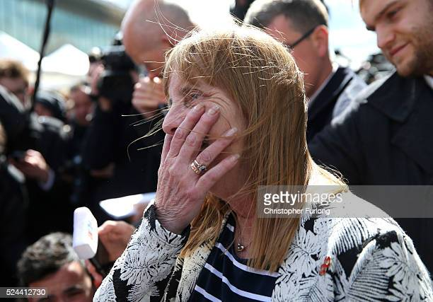 Margaret Aspinall of the Hillsborough Family Support Group shows her emotion as she departs Birchwood Park after hearing the conclusions of the...