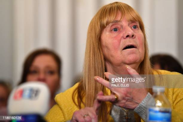 Margaret Aspinall representing family members survivors and campaigners for the victims of the Hillsborough Disaster speaks during a press conference...