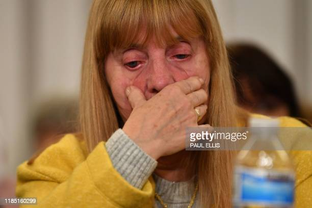 Margaret Aspinall representing family members survivors and campaigners for the victims of the Hillsborough Disaster reacts during a press conference...
