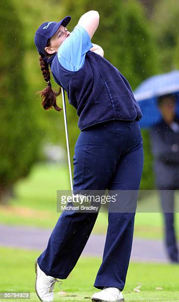 Margaret Aston, 3 from Northland, tees off in her clash with Auckland, during the Womens Golf Lion Foundation Interprovincial Cup played at the North...