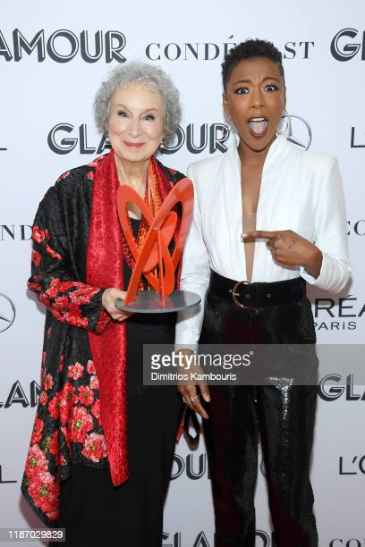 Margaret Atwood and Samira Wiley pose backstage during the 2019 Glamour Women Of The Year Awards at Alice Tully Hall on November 11 2019 in New York...