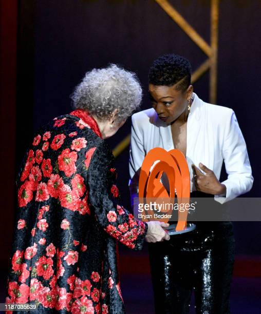 Margaret Atwood and Samira Wiley speak onstage at the 2019 Glamour Women Of The Year Awards at Alice Tully Hall on November 11 2019 in New York City