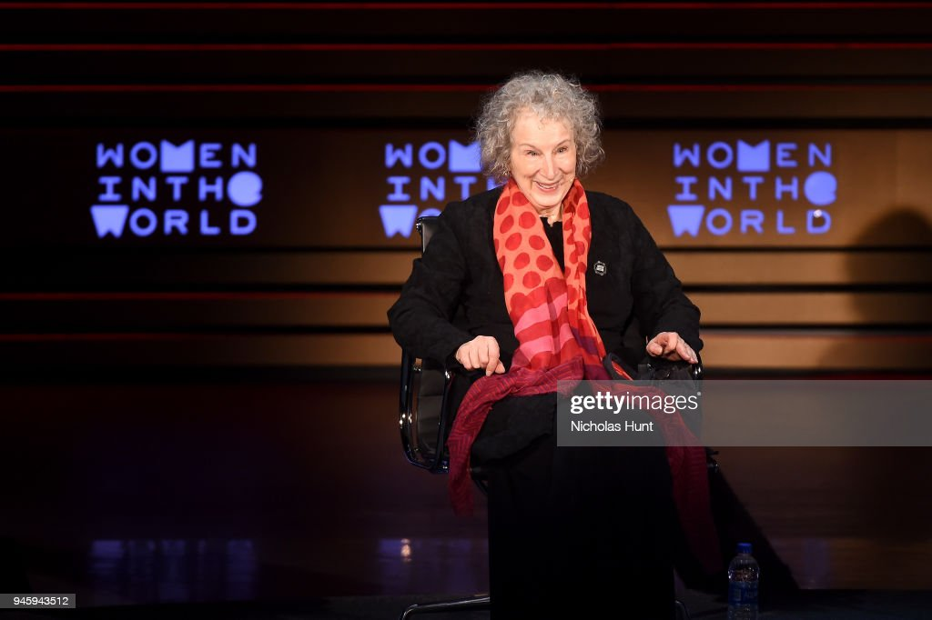Margaret Atwood speaks on stage at the 2018 Women In The World Summit at Lincoln Center on April 13, 2018 in New York City.