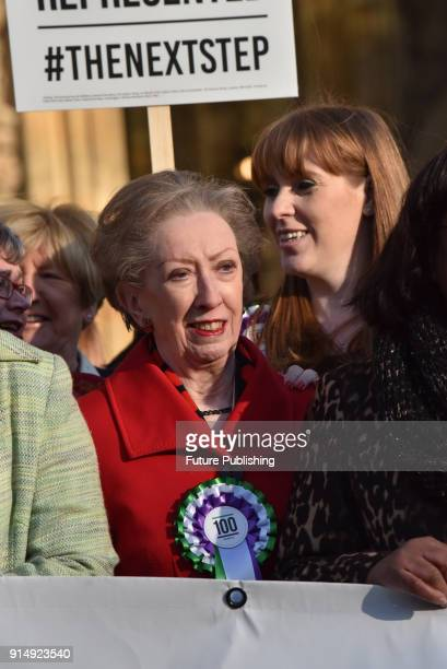 Margaret Beckett Angela Rayner Female members of the shadow cabinet and Labour politicians wearing suffrage rosettes and banners stand outside the...