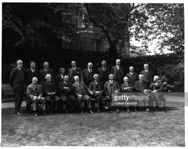 Margaret Bondfield the first female cabinet member in British history with members of the 1929 Labour Party cabinet in the gardens at 10 Downing...