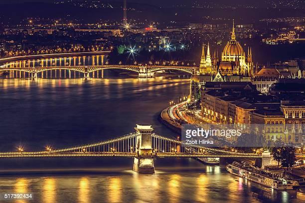 margaret bridge, parliament, chain bridge, budapest - budapest stock pictures, royalty-free photos & images