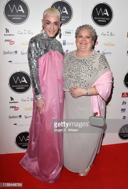 Margaret Campbell and Jamie Campbell attend the WhatsOnStage Awards at Prince Of Wales Theatre on March 03 2019 in London England