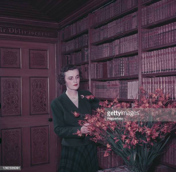 Margaret Campbell, Duchess of Argyll , arranges a vase of flowers in the library prior to inviting guests to a Campbell clan gathering at Inveraray...