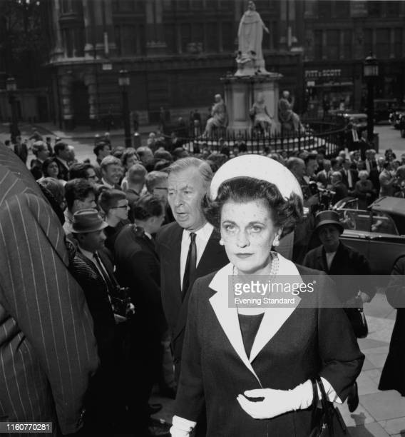Margaret Campbell, Duchess of Argyll arrives at the memorial service for Lord Beaverbrook, at St Paul's Cathedral, London, June 24th 1964.