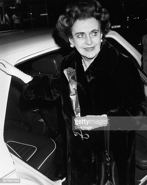 Margaret Campbell Duchess of Argyll arriving at a concert held by her granddaughters band 'The Business Connection' at the Hippodrome in London...