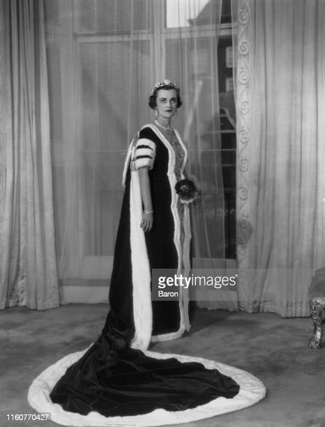Margaret Campbell Duchess of Argyll in ceremonial robes 1953